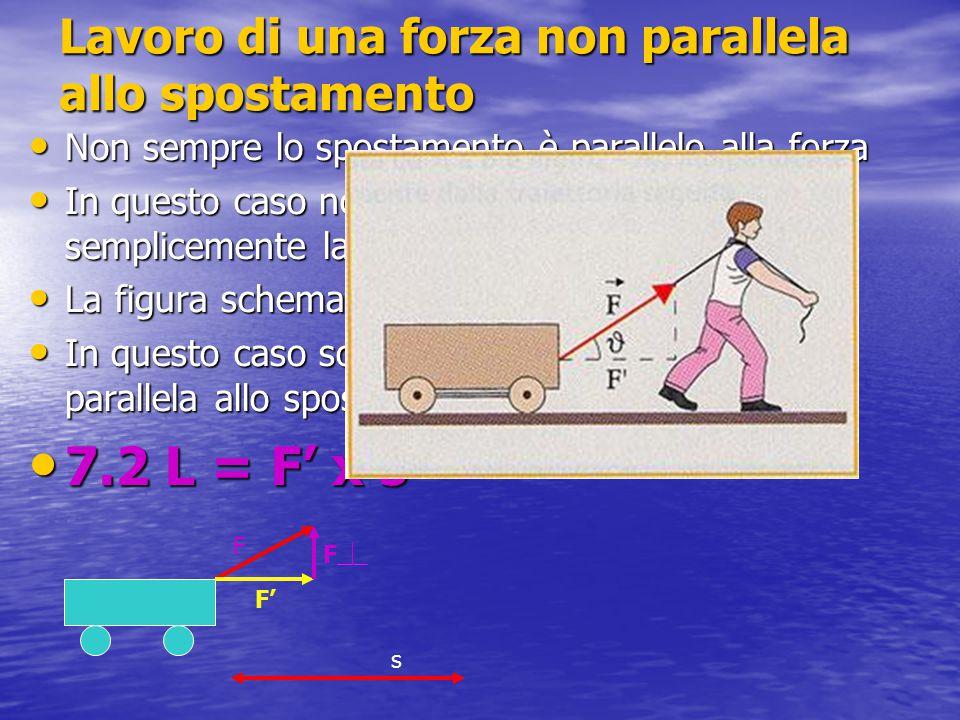 Lavoro delle forze di attrito Quando lanciamo un corpo con velocità v esso tende a fermarsi Se ciò avviene la causa è la forza di attrito Essa agisce durante tutto lo spostamento ed ha un verso contrario allo spostamento 7.3 Ls = - Fs x s Si tratta di un lavoro negativo P R V FsFs s V = 0