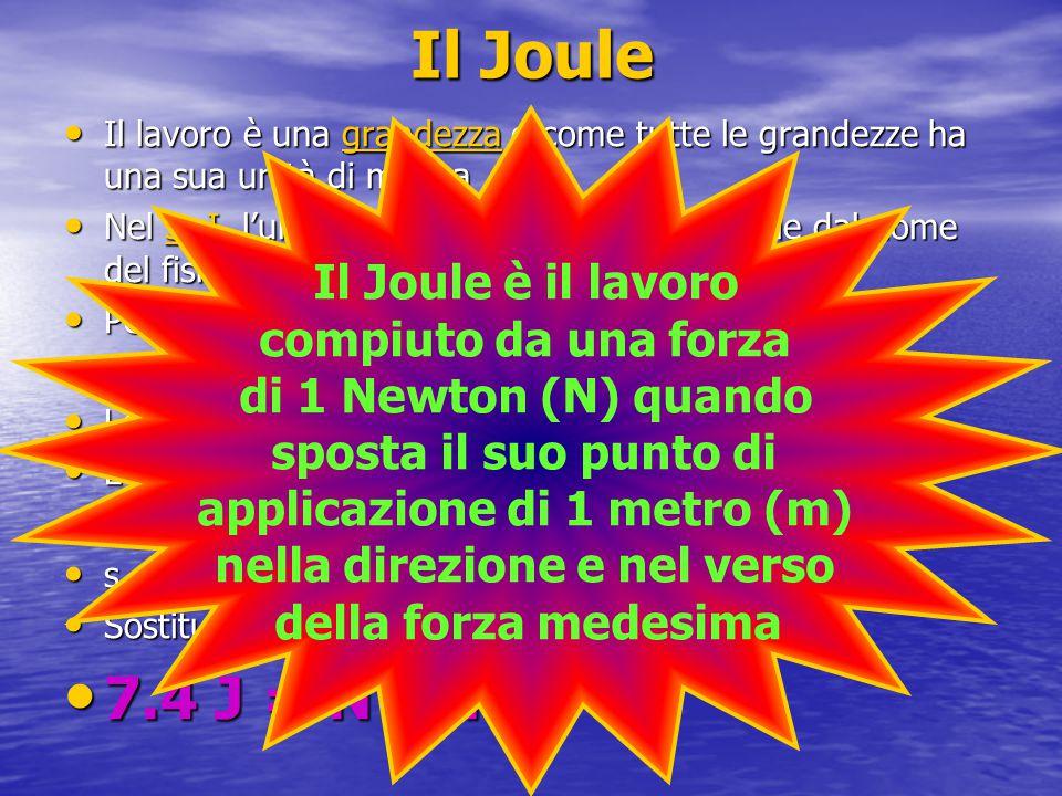 LLLL eeee d d d d iiii mmmm eeee nnnn ssss iiii oooo nnnn iiii d d d d eeee llll J J J J oooo uuuu llll eeee Ciascuna grandezza ha le sue dimensioni Quelle del Joule sono piuttosto complicate essendo date dal prodotto di N x m Le dimensioni del n n n n n eeee wwww tttt oooo nnnn s s s s sono 7.5 [N] = Kg m/s2 Perciò quelle del joule saranno 7.6 [J] = Kg m2/s2