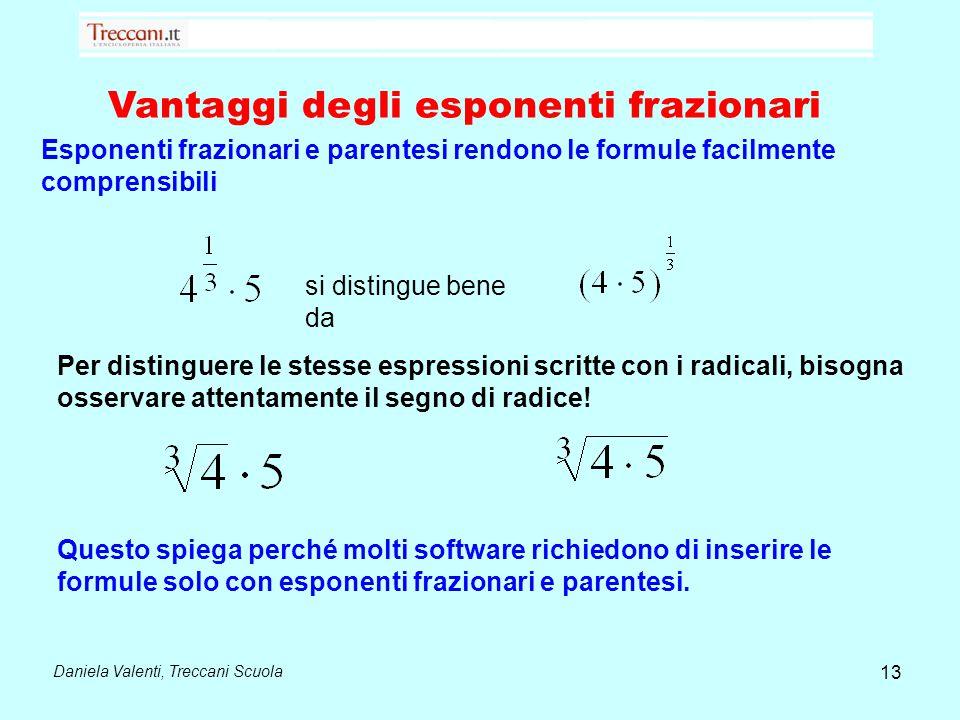 Daniela Valenti, Treccani Scuola 13 Vantaggi degli esponenti frazionari Esponenti frazionari e parentesi rendono le formule facilmente comprensibili s