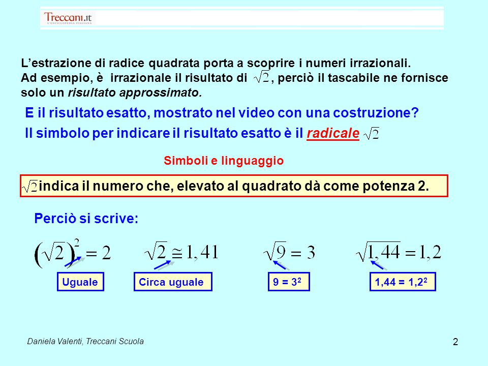 L'estrazione di radice quadrata porta a scoprire i numeri irrazionali. Ad esempio, è irrazionale il risultato di, perciò il tascabile ne fornisce solo