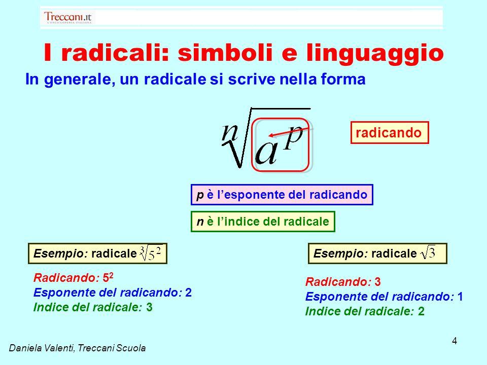 Daniela Valenti, Treccani Scuola I radicali: simboli e linguaggio In generale, un radicale si scrive nella forma 4 radicando n è l'indice del radicale