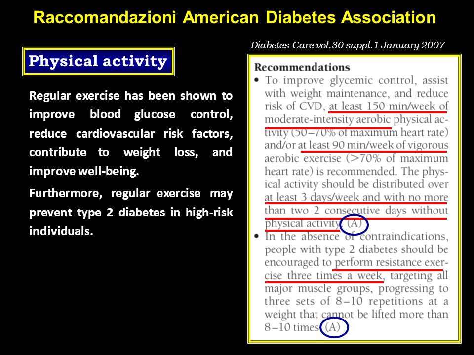 Raccomandazioni American Diabetes Association Regular exercise has been shown to improve blood glucose control, reduce cardiovascular risk factors, co