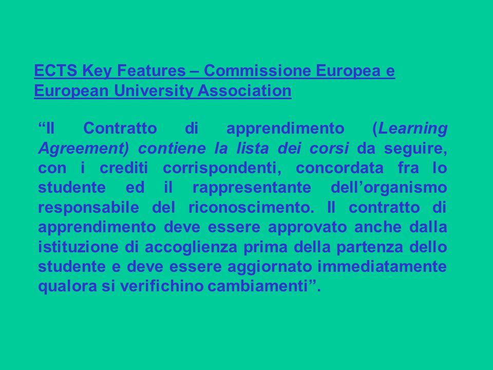 Il Contratto di apprendimento (Learning Agreement) contiene la lista dei corsi da seguire, con i crediti corrispondenti, concordata fra lo studente ed il rappresentante dell'organismo responsabile del riconoscimento.