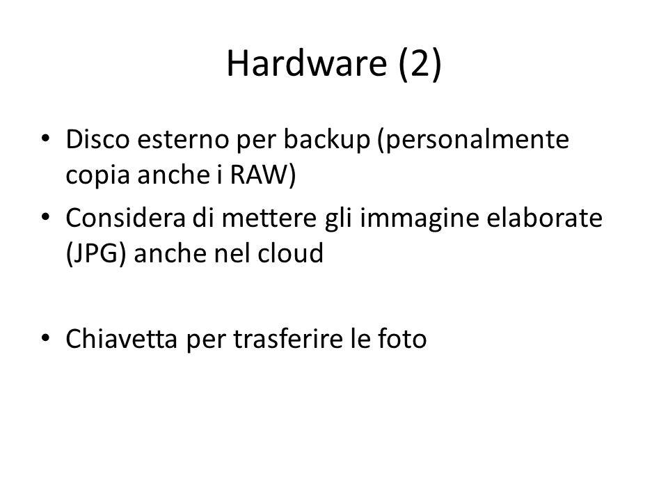 Hardware (2) Disco esterno per backup (personalmente copia anche i RAW) Considera di mettere gli immagine elaborate (JPG) anche nel cloud Chiavetta per trasferire le foto