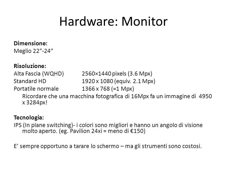 Hardware: Monitor Dimensione: Meglio 22 -24 Risoluzione: Alta Fascia (WQHD)2560×1440 pixels (3.6 Mpx) Standard HD1920 x 1080 (equiv.