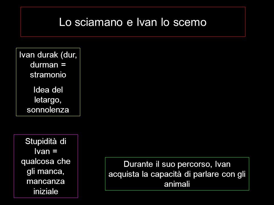 Lo sciamano e Ivan lo scemo Ivan durak (dur, durman = stramonio Idea del letargo, sonnolenza Stupidità di Ivan = qualcosa che gli manca, mancanza iniz