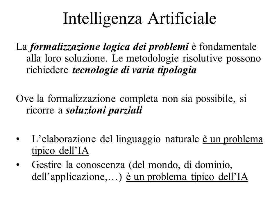 Intelligenza Artificiale La formalizzazione logica dei problemi è fondamentale alla loro soluzione.