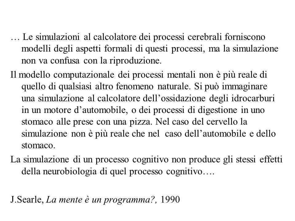 … Le simulazioni al calcolatore dei processi cerebrali forniscono modelli degli aspetti formali di questi processi, ma la simulazione non va confusa con la riproduzione.