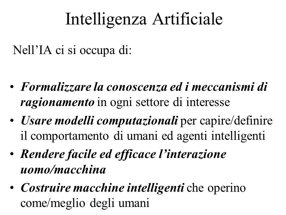 Intelligenza Artificiale Nell'IA ci si occupa di: Formalizzare la conoscenza ed i meccanismi di ragionamento in ogni settore di interesse Usare modelli computazionali per capire/definire il comportamento di umani ed agenti intelligenti Rendere facile ed efficace l'interazione uomo/macchina Costruire macchine intelligenti che operino come/meglio degli umani