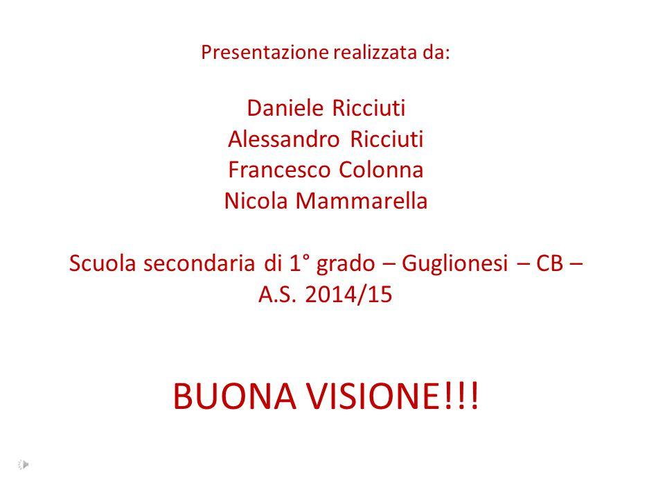 Presentazione realizzata da: Daniele Ricciuti Alessandro Ricciuti Francesco Colonna Nicola Mammarella Scuola secondaria di 1° grado – Guglionesi – CB – A.S.