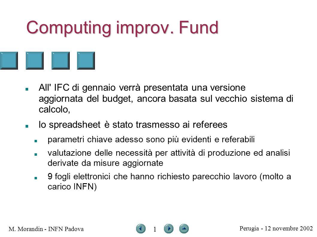 Perugia - 12 novembre 2002 M. Morandin - INFN Padova 1 Computing improv.