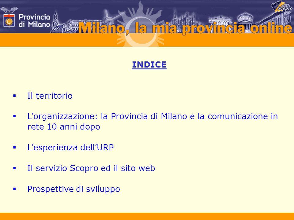 IL TERRITORIO La Provincia di Milano è la maggiore area metropolitana italiana per estensione del capoluogo e della periferia Popolazione circa 4 milioni il 6,5% della popolazione nazionale ed il 41,6% di quella regionale Territorio superficie di circa 2000 kmq Densità circa 1900 abitanti per kmq una delle regioni più densamente popolate d'Europa