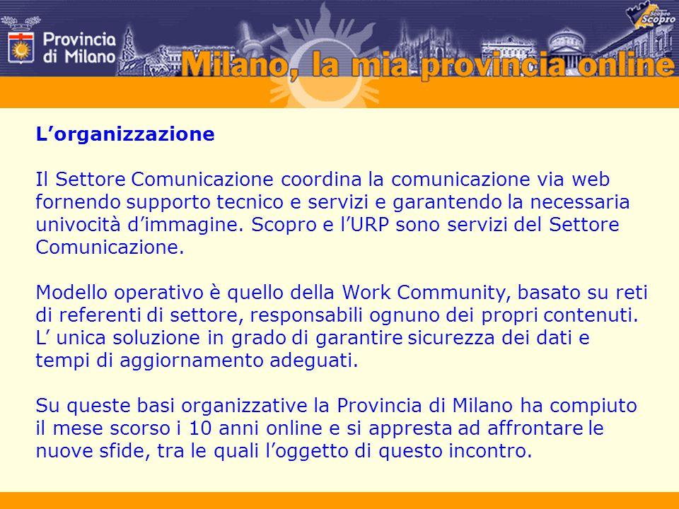 L'organizzazione Il Settore Comunicazione coordina la comunicazione via web fornendo supporto tecnico e servizi e garantendo la necessaria univocità d'immagine.