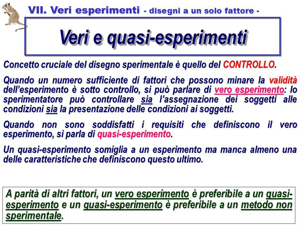 Veri e quasi-esperimenti VII. Veri esperimenti - disegni a un solo fattore - Concetto cruciale del disegno sperimentale è quello del CONTROLLO. Quando