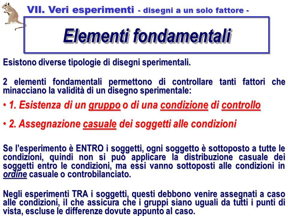 Esistono diverse tipologie di disegni sperimentali. 2 elementi fondamentali permettono di controllare tanti fattori che minacciano la validità di un d