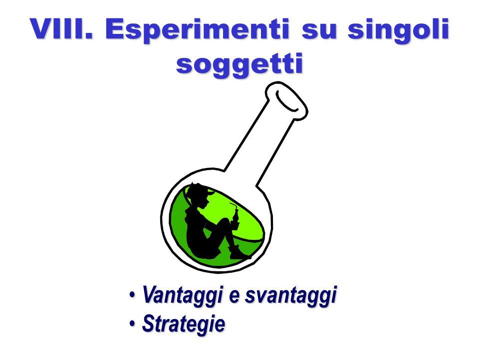 VIII. Esperimenti su singoli soggetti Vantaggi e svantaggi Vantaggi e svantaggi Strategie Strategie