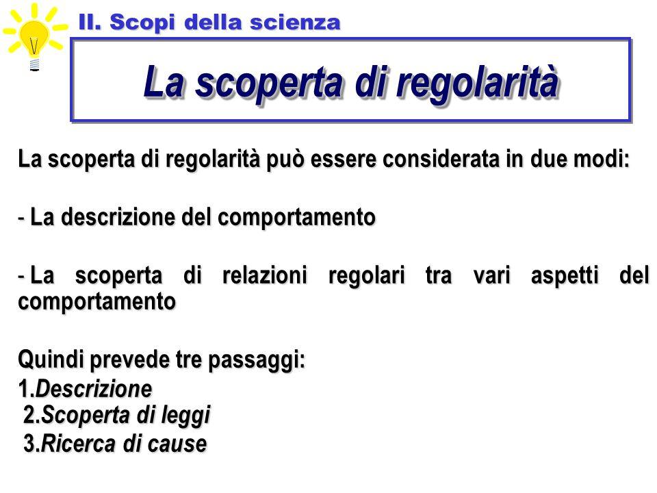 La scoperta di regolarità può essere considerata in due modi: - La descrizione del comportamento - La scoperta di relazioni regolari tra vari aspetti