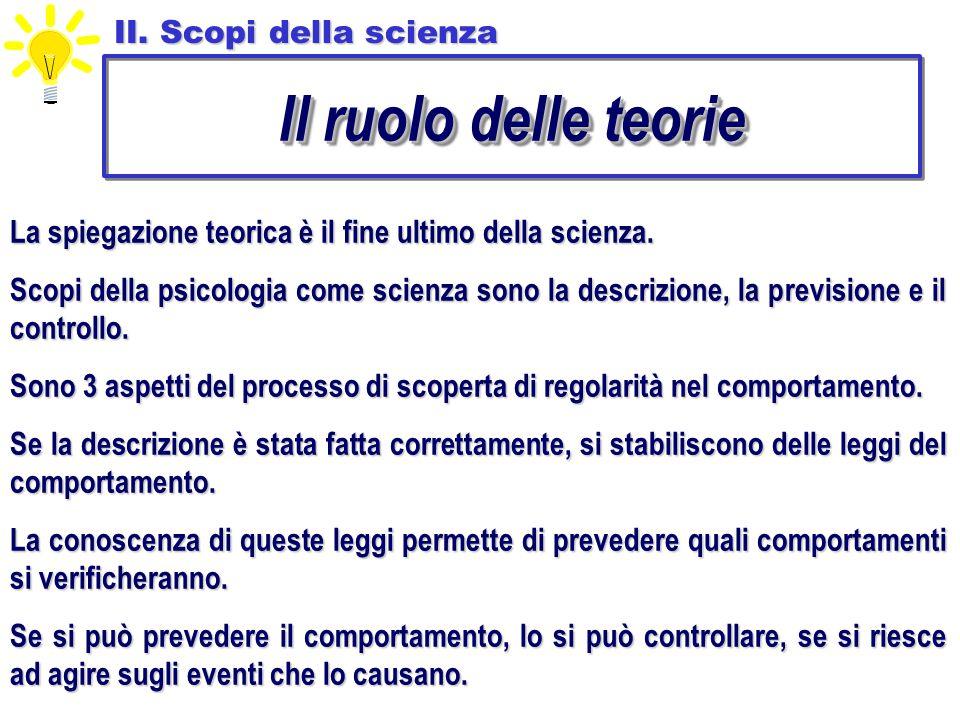 II. Scopi della scienza Il ruolo delle teorie La spiegazione teorica è il fine ultimo della scienza. Scopi della psicologia come scienza sono la descr