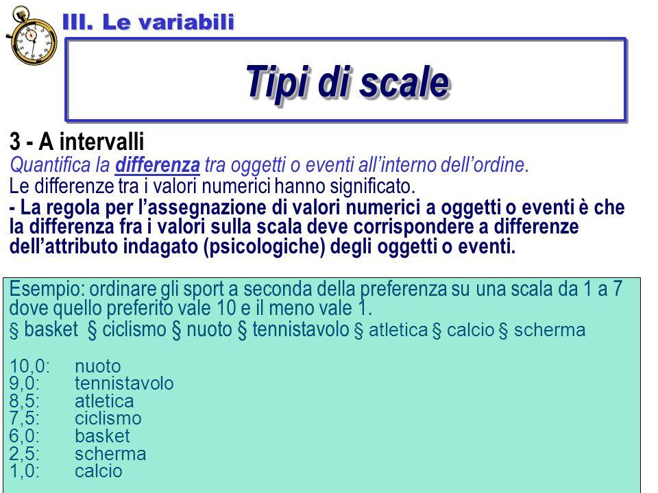 3 - A intervalli Quantifica la differenza tra oggetti o eventi all'interno dell'ordine.