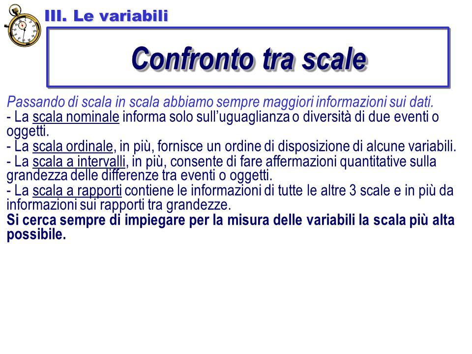 Confronto tra scale III. Le variabili Passando di scala in scala abbiamo sempre maggiori informazioni sui dati. - La scala nominale informa solo sull'