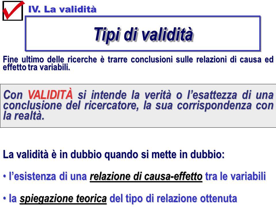 IV. La validità Tipi di validità Fine ultimo delle ricerche è trarre conclusioni sulle relazioni di causa ed effetto tra variabili. Con VALIDITÀ si in