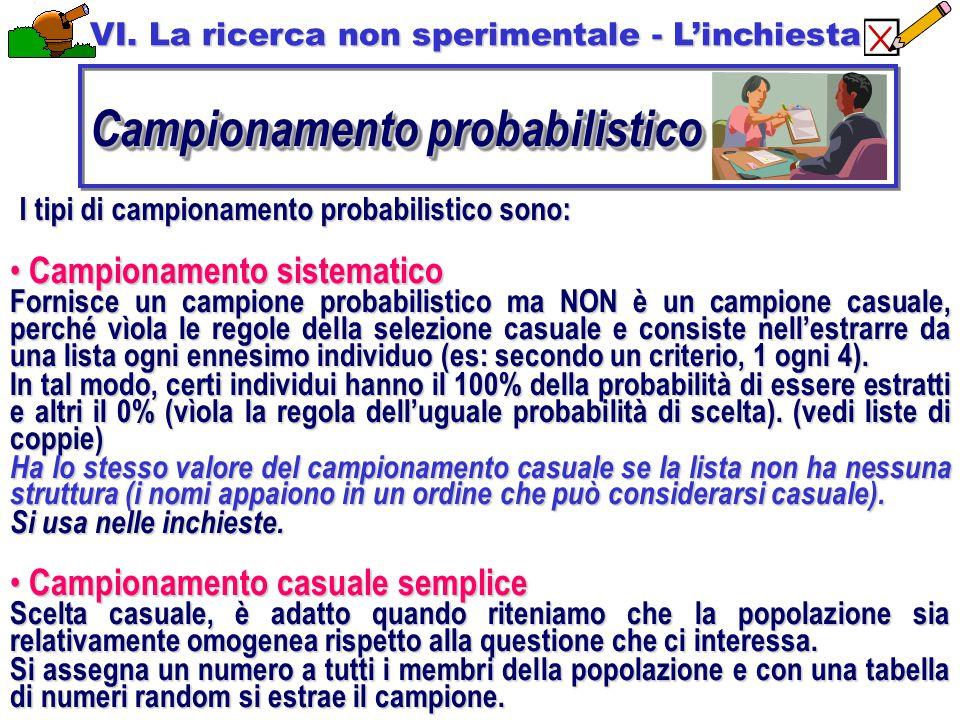 I tipi di campionamento probabilistico sono: Campionamento sistematico Campionamento sistematico Fornisce un campione probabilistico ma NON è un campione casuale, perché vìola le regole della selezione casuale e consiste nell'estrarre da una lista ogni ennesimo individuo (es: secondo un criterio, 1 ogni 4).