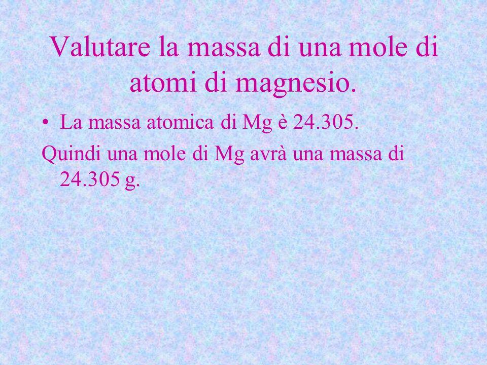 Valutare la massa di una mole di atomi di magnesio. La massa atomica di Mg è 24.305. Quindi una mole di Mg avrà una massa di 24.305 g.