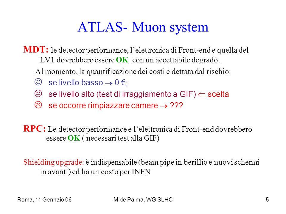Roma, 11 Gennaio 06M de Palma, WG SLHC6 Atlas – Calorimeters LAr: Il rivelatore (con qualche limitazione per ionizzazione, carica spaziale,……) è assunto Ok E' probabile l'upgrade (non la sostituzione)del sistema di HV e del DCS E' sicuro l'upgrade dell'Elettronica di read-out system Specifico interesse dell'INFN per R&D, con partecipazione al costo totale con lo share dell' MoU Tile: Si assume che il detector, i PMT non saranno cambiati, parti non resistenti alla rad.