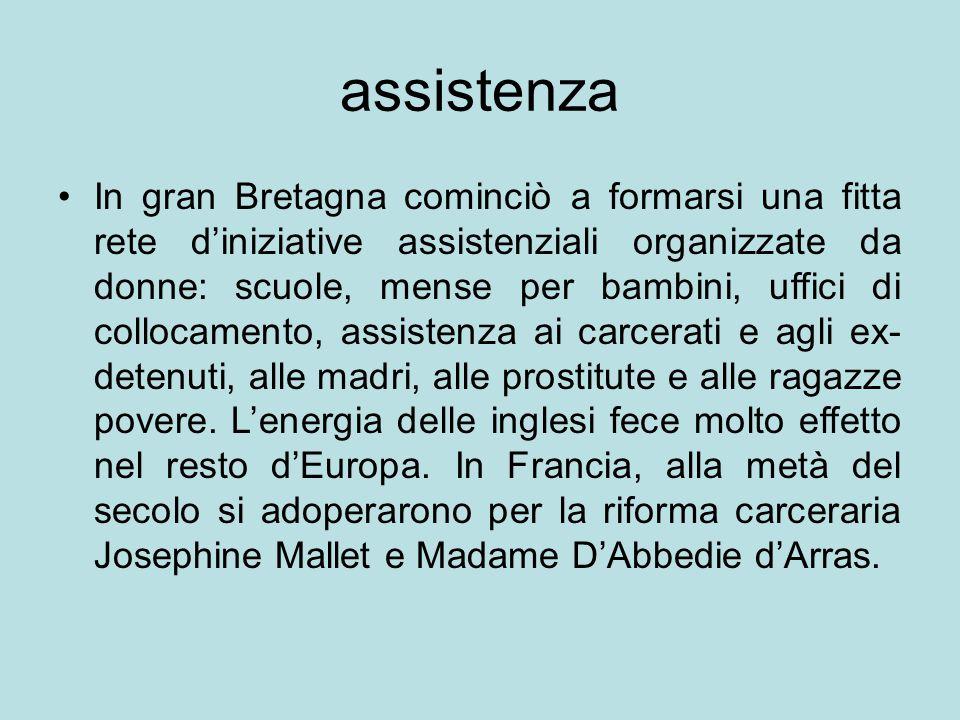 assistenza In gran Bretagna cominciò a formarsi una fitta rete d'iniziative assistenziali organizzate da donne: scuole, mense per bambini, uffici di c