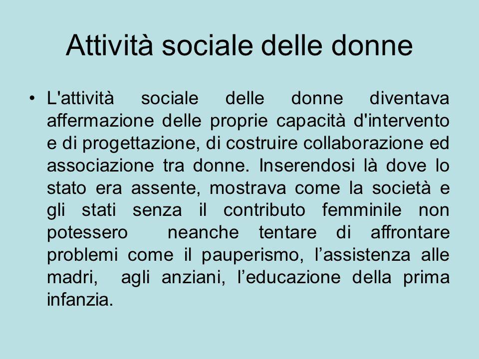 Attività sociale delle donne L attività sociale delle donne diventava affermazione delle proprie capacità d intervento e di progettazione, di costruire collaborazione ed associazione tra donne.