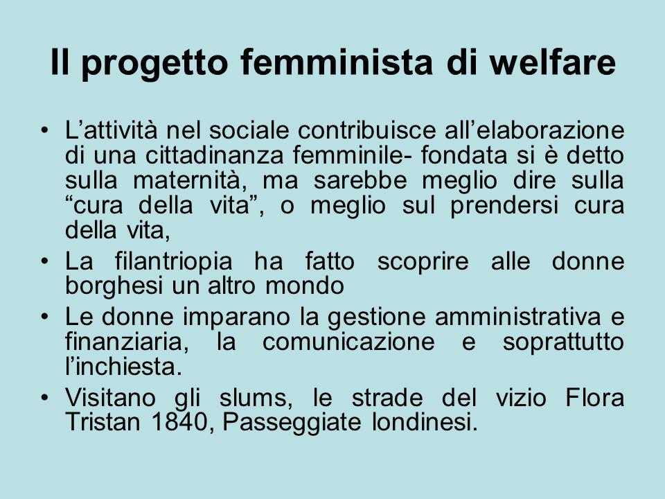 Il progetto femminista di welfare L'attività nel sociale contribuisce all'elaborazione di una cittadinanza femminile- fondata si è detto sulla materni