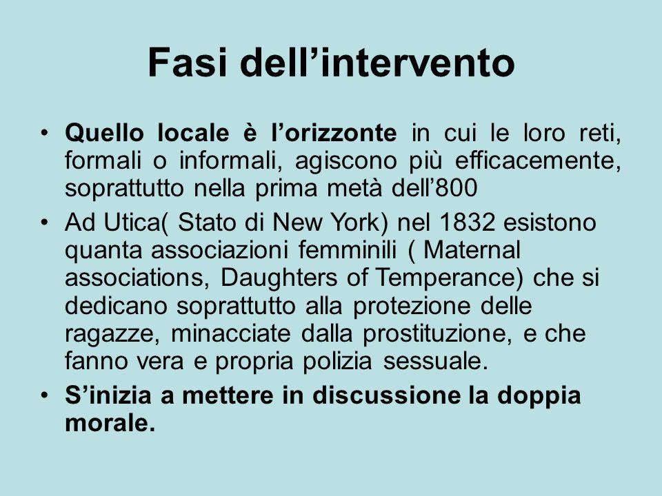 Fasi dell'intervento Quello locale è l'orizzonte in cui le loro reti, formali o informali, agiscono più efficacemente, soprattutto nella prima metà de