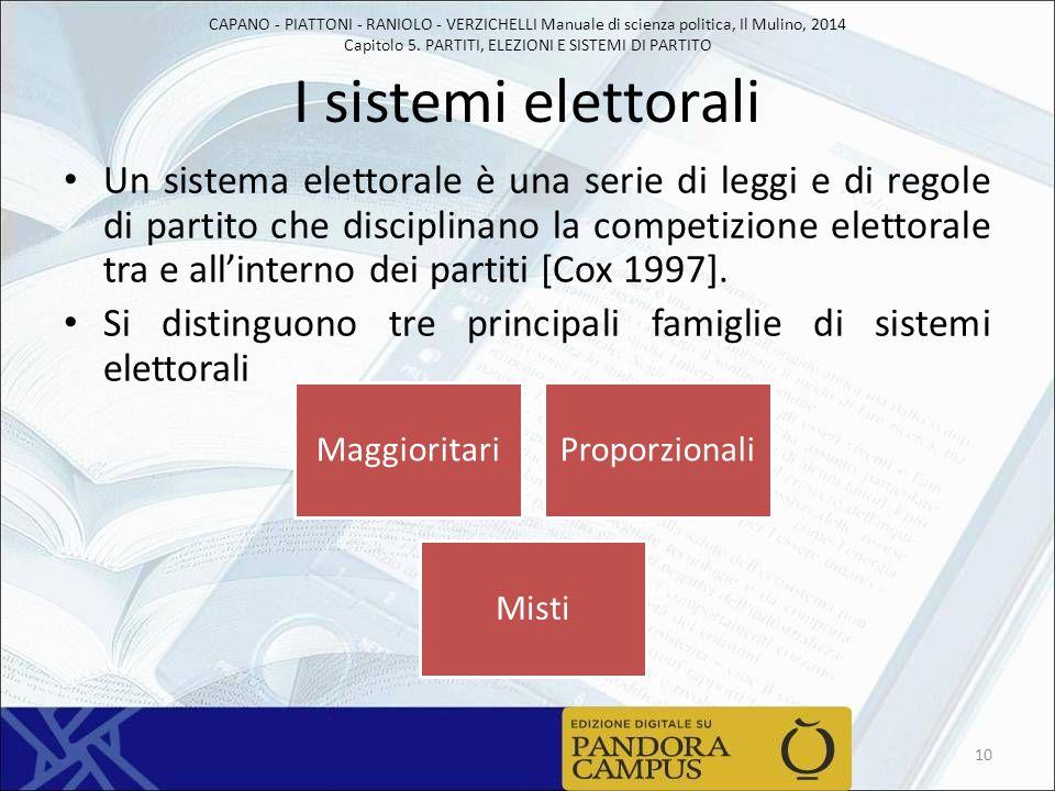 CAPANO - PIATTONI - RANIOLO - VERZICHELLI Manuale di scienza politica, Il Mulino, 2014 Capitolo 5. PARTITI, ELEZIONI E SISTEMI DI PARTITO I sistemi el
