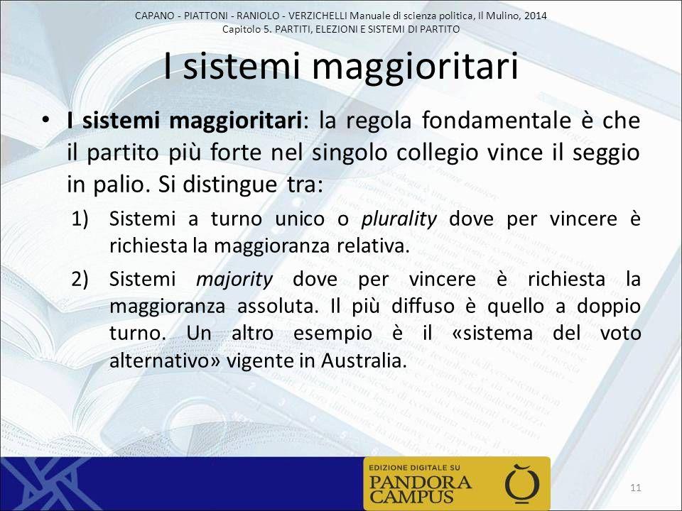CAPANO - PIATTONI - RANIOLO - VERZICHELLI Manuale di scienza politica, Il Mulino, 2014 Capitolo 5. PARTITI, ELEZIONI E SISTEMI DI PARTITO I sistemi ma