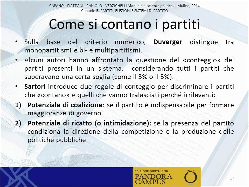 CAPANO - PIATTONI - RANIOLO - VERZICHELLI Manuale di scienza politica, Il Mulino, 2014 Capitolo 5. PARTITI, ELEZIONI E SISTEMI DI PARTITO Come si cont