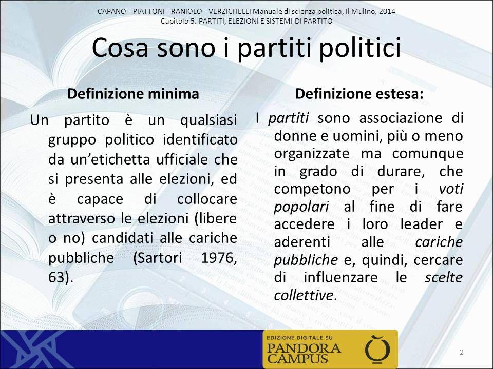 CAPANO - PIATTONI - RANIOLO - VERZICHELLI Manuale di scienza politica, Il Mulino, 2014 Capitolo 5. PARTITI, ELEZIONI E SISTEMI DI PARTITO Cosa sono i
