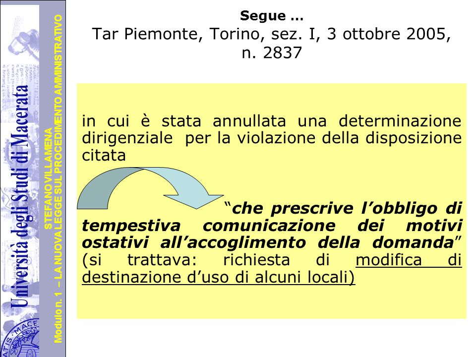 Università degli Studi di Perugia Modulo n. 1 – LA NUOVA LEGGE SUL PROCEDIMENTO AMMINISTRATIVO STEFANO VILLAMENA L'attuazione giurisprudenziale A part