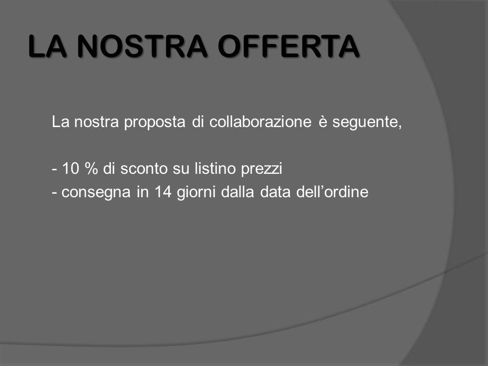 LA NOSTRA OFFERTA La nostra proposta di collaborazione è seguente, - 10 % di sconto su listino prezzi - consegna in 14 giorni dalla data dell'ordine