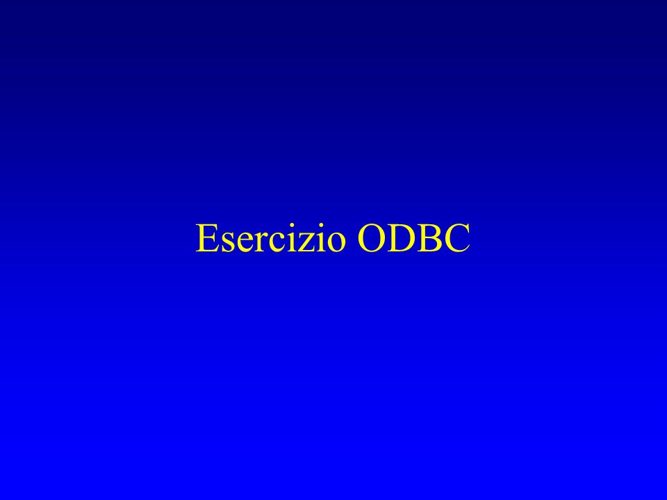 Esercizio ODBC