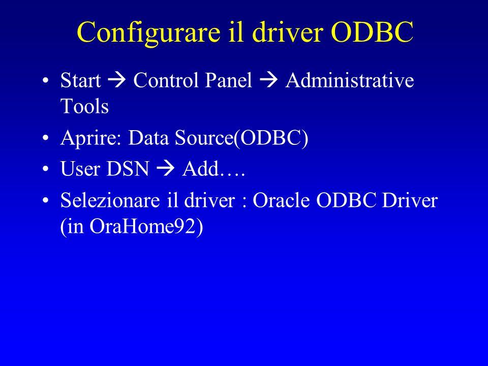 Configurare Oracle ODBC driver Data source name: un nome del tutto arbitrario (uso Mionome.oracle1.odbc) TNS Service name: il service name del database oracle verso cui voglio effettuare la connessione.