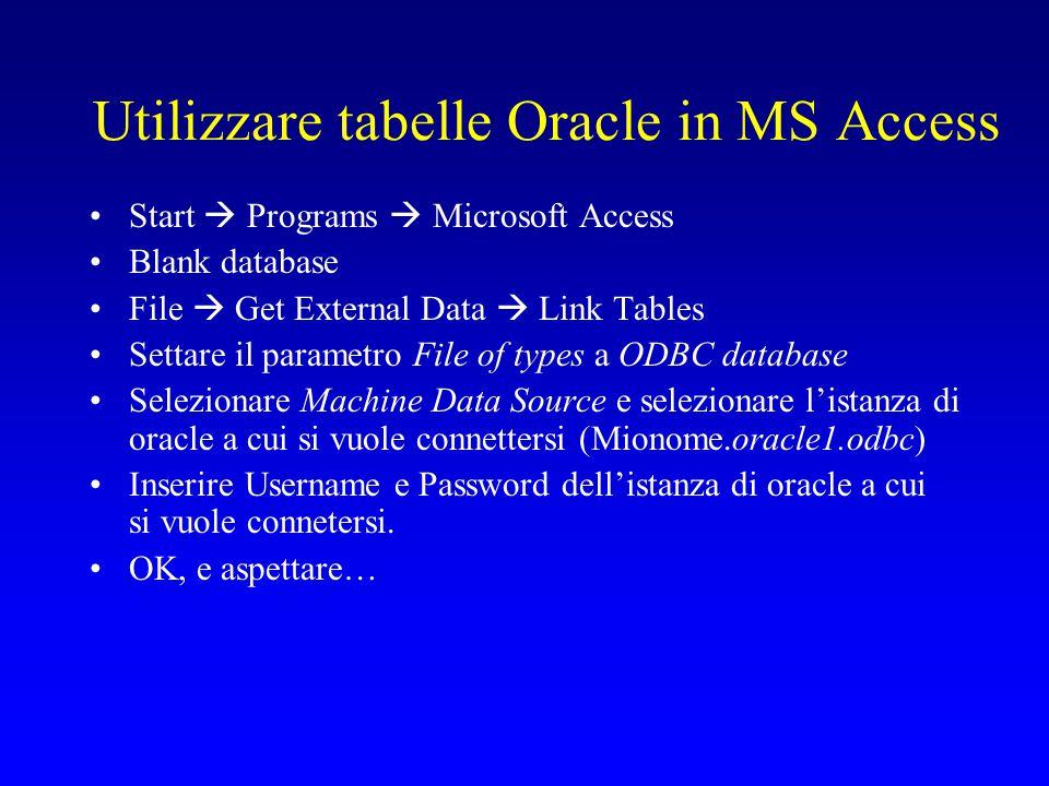 Usare tabelle Oracle in MS Access Selezionare le tabelle Acquisti, Oggetti, Scelte, Sessioni, Sessioni_Secondi .