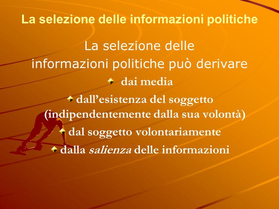 La selezione delle informazioni politiche La selezione delle informazioni politiche può derivare dai media dall'esistenza del soggetto (indipendenteme