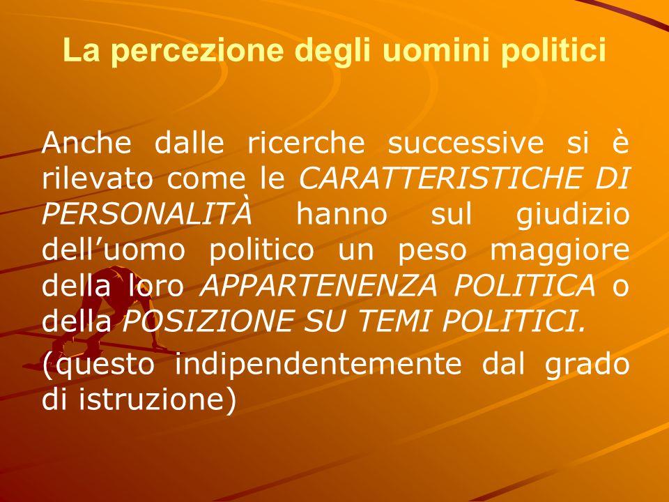 La percezione degli uomini politici Anche dalle ricerche successive si è rilevato come le CARATTERISTICHE DI PERSONALITÀ hanno sul giudizio dell'uomo