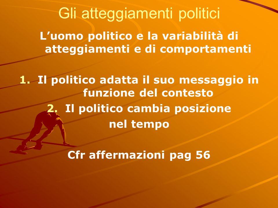 Gli atteggiamenti politici L'uomo politico e la variabilità di atteggiamenti e di comportamenti 1. 1.Il politico adatta il suo messaggio in funzione d
