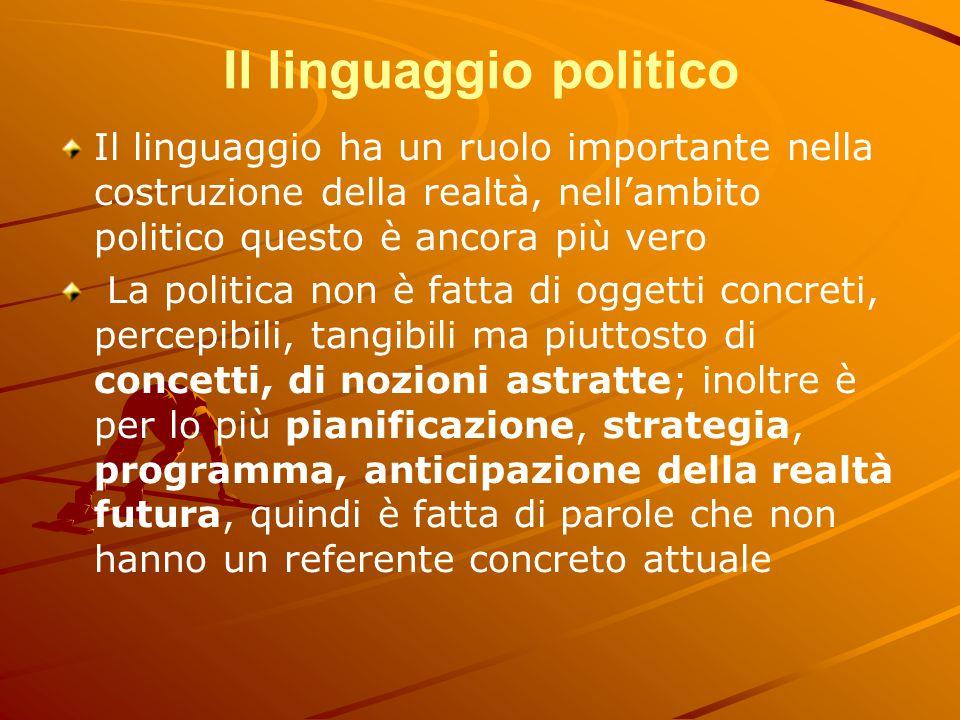 Il linguaggio politico Il linguaggio ha un ruolo importante nella costruzione della realtà, nell'ambito politico questo è ancora più vero La politica