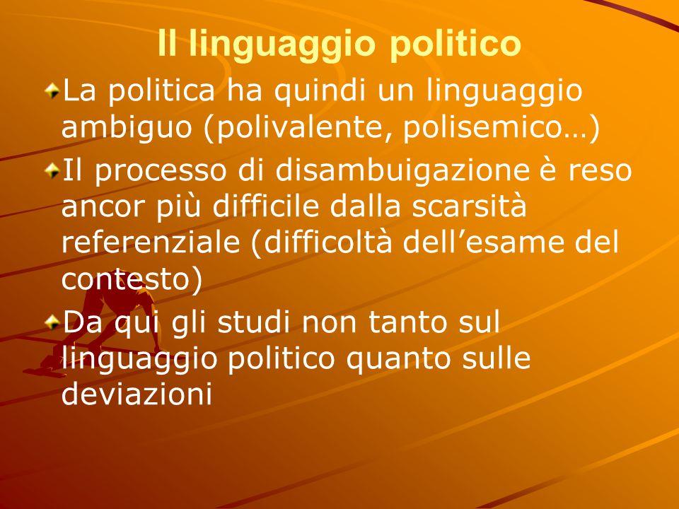 Il linguaggio politico La politica ha quindi un linguaggio ambiguo (polivalente, polisemico…) Il processo di disambuigazione è reso ancor più difficil