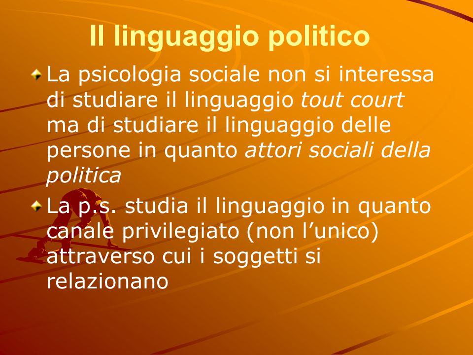 Il linguaggio politico La psicologia sociale non si interessa di studiare il linguaggio tout court ma di studiare il linguaggio delle persone in quant