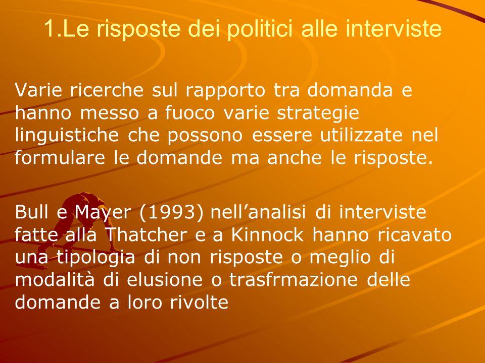 1.Le risposte dei politici alle interviste Varie ricerche sul rapporto tra domanda e hanno messo a fuoco varie strategie linguistiche che possono esse