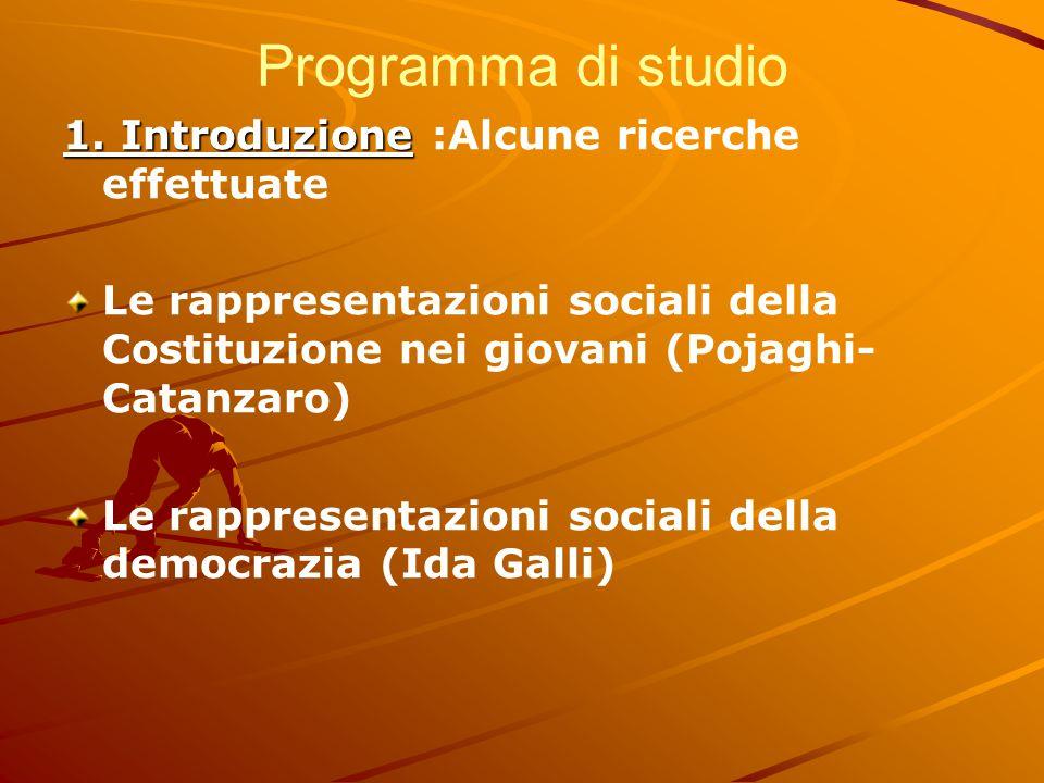 Programma di studio 1. Introduzione 1. Introduzione :Alcune ricerche effettuate Le rappresentazioni sociali della Costituzione nei giovani (Pojaghi- C