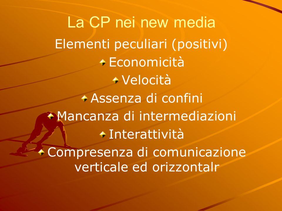 La CP nei new media Elementi peculiari (positivi) Economicità Velocità Assenza di confini Mancanza di intermediazioni Interattività Compresenza di com